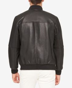 Marc New York Men's Three-Pocket Leather Bomber Jacket - Black XXL