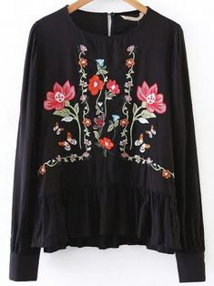 Buy Black Flower Embroidery Ruffle Hem Blouse from abaday.com, FREE shipping Worldwide - Fashion Clothing, Latest Street Fashion At Abaday.com