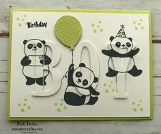 DIY Eclipse card for a boy using the free Sale-A-Bration Party Panda stamp set from Stampin Up and the Large Letter Framelits