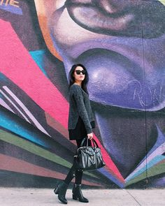 Michelle (@runwayonthego) Casual cool #outfitinspiration #wiw #ootd #lotd #style #fashionblogger #styleblogger #mural #artdistrict