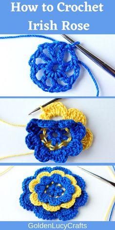 Crochet Applique Patterns Free, Irish Crochet Patterns, Granny Square Crochet Pattern, Crochet Designs, Knitting Patterns, Crochet Appliques, Crochet Butterfly Free Pattern, Crochet Embellishments, Crochet Mandala Pattern