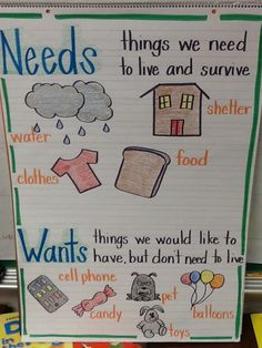 Disciplinary Standard Economics Standard 2 Individuals have rights and responsibilities. Critique: This is a great activity for showing kindergartens about wants and needs and how it pertains to money. The anchor chart is a good way to get all the kids involved with learning about economics. A teacher can give a good mini lesson on economics.