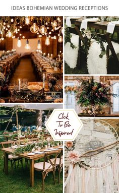 Bohemian wedding receptions are a combination of many details, lights, colors and hand made elements that together will make your holiday unforgettable. #weddingforward #wedding #bride #WeddingDecor