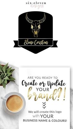 4420  Elone Corston LOGO Premade Logo Design Brand Blog - Modern Branding Solutions for your business - Logos for your business, boutique or blog. Blogger header, Blog Header and social media. Photography Logos, Business Logos, Boutique Logos, Shop Logos, Brand Logos, Horns, Bull, Skull, Black and Gold.