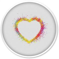 Heart Cross Stitch Pattern Free shipping Cross Stitch PDF