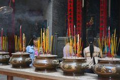 Incense burning at Thien Hau Buddhist temple -- Ho Chi Minh City, Vietnam.