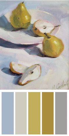 homedecor art Pear fruit still life giclee art print for kitchen wall decor Pear fruit still life oil painting giclee PRINT for kitchen/dining room wall decor Giclee print - fade-resistant archival ink on fine art textured heavy weight paper. Dining Room Wall Decor, Still Life Oil Painting, Modern Impressionism, Fruit Painting, Paint Colors For Home, House Colors, Canadian Art, Design Seeds, Color Swatches
