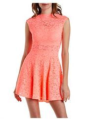 Scalloped Lace Boat Neck Skater Dress Buy one get one for ten dollars!