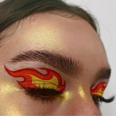 Fire Makeup, Makeup Eye Looks, Eye Makeup Art, Pretty Makeup, Skin Makeup, Eyeshadow Makeup, Beauty Makeup, 80s Makeup, Witch Makeup