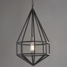 Long Diamond Cage Pendant Contemporary geometric style meets a masculine, industrial finish in this open concept pendant. A perfect addition to any room, by itself or with multiple