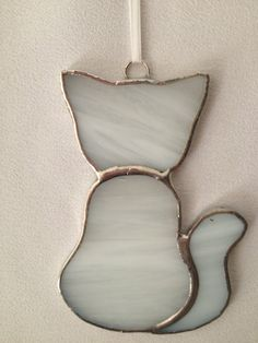 Stained Glass Ornament  White Kitty Cat by MamaAgees on Etsy