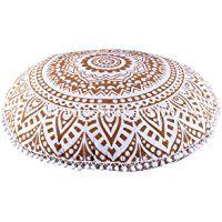 "Large Golden Ombre Mandala Floor Cushions, Decorative Throw Pillowcases 32"", Round Pouf Ottoman, Indian Outdoor Cushion Cover, Boho Pom Pom Pillow Shams"