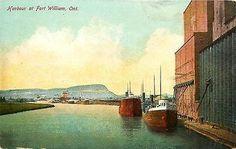 Fort William Ontario Canada 1910 Grain Elevators Loading Freighters Postcard