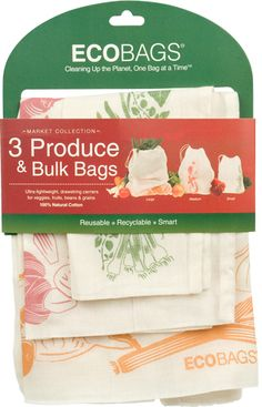 Shop plastic free with ECOBAGS® set of 3 produce and bulk bags - plastic pollutes! These eco friendly and zero waste bags are all natural cotton, made with AZO free dyes, and are 100% biodegradable! Why not start your journey to a less littered lifestyle today!
