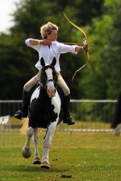 Mounted Archery on Horseback  Equestrian practicing mounted archery on horseback.