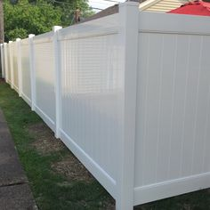 "Vinyl privacy fence. Not all vinyl fences are equal in quality. For best quality, make sure you get a 2""x7"" rail, aluminum (or steel) insert in the bottom rail, and NO brackets during assembly."
