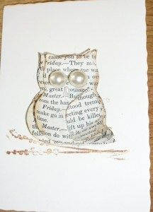 Owl Card - recycled book pages
