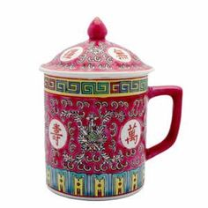 Asian Porcelain Mug for Tea or Coffee with Lid - Beautiful Fuchsia w/Rose Calligraphy Importer http://www.amazon.com/dp/B002T6Z9KO/ref=cm_sw_r_pi_dp_Lhujvb006MQ4G