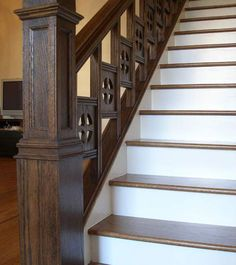 Image detail for -How-To: Victorian Staircase Restoration Stair Newel Post, Stair Railing, Newel Posts, Victorian Stairs, Victorian Homes, Victorian Decor, Vintage Decor, Banisters, Railings