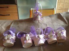 Pirittini per maffiin, decorati con gessetti alla lavanda, bomboniere per battesimo