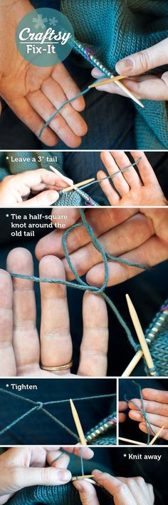 Attach a new ball of yarn to a knitting project-