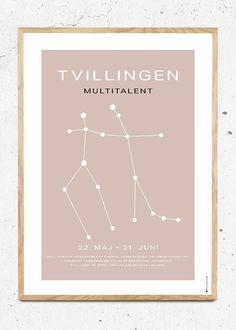 Stjernetegn Tvillingen / Gemini støvet rosa fra bylilianlund