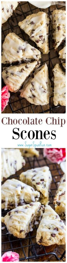 Desserts - Chocolate chip packed mini chocolate chip scones with a sweet vanilla glaze these are a favorite with anyone who tries them Just Desserts, Delicious Desserts, Yummy Food, Brunch Recipes, Dessert Recipes, Mini Chocolate Chips, Baking Chocolate, Chocolate Chocolate, Chocolate Muffins