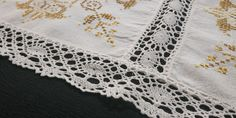 A very beautiful vintage handmade linen table runner. Hand embroidered cross stitch geometric floral appliques and elegant handmade bobbin lace borders and edge. COLOURS:White, shades of mustard MATERIAL:Linen, cotton SHAPE:Rectangle / Cross Stitch Geometric, Vintage Cross Stitches, Lace Border, Bobbin Lace, Embroidered Flowers, Table Runners, Colours, Floral, Handmade