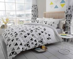 Geo Triangle Grey Duvet Quilt Cover Bedding Set – Linen and Bedding