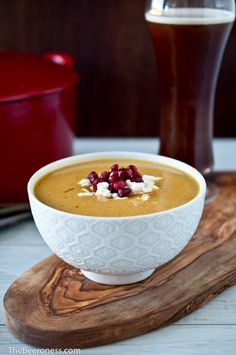 Irish Red Ale Butternut Squash Soup with Goat Cheese and Pomegranate by The Beeroness