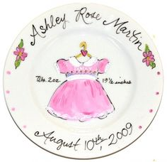 Baby gift personalized plate hand painted baby girl ceramic personalized baby girl dress plate by artist timree 86 choose the colors to negle Images