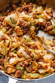 Fried Cabbage Recipe with Sausage – Perfect for your weeknight dinners, this fried cabbage recipe with sausage is an easy throw-together recipe you can make in 30 minutes. This quick one-pan … Cabbage Recipes With Sausage, Cabbage Soup Recipes, Pork Recipes, Cooking Recipes, Cooked Cabbage Recipes, Best Cabbage Recipe, Recipes With Sausage Healthy, Recipe For Fried Cabbage, Fried Cabbage And Sausage