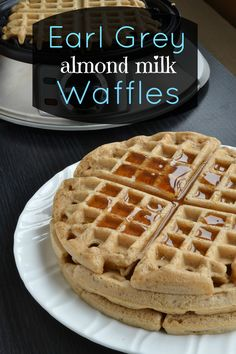Earl Grey almond milk waffles. Just made these, but in pancake form and added some oats. They're delicious and you can really taste the Earl Grey!