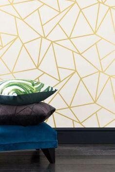Geometrische behang goud en wit / verwisselbare wallpaper