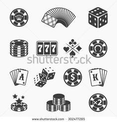 Gambling icons set. Card and casino, poker game, dice and ace. Vector illustration - stock vector