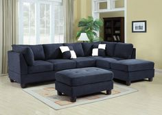 Glory Navy Blue Suede Sectional G630 SC   Glory Navy Blue Suede Sectional  G630