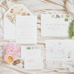Woodland Wedding Invitation Suite with Watercolor Map and Custom Floral Envelope honey-paper.com #rusticweddingchic #weddingdetails #santabarbarawedding #santaynezwedding