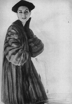 Harper's Bazaar, September 1953    Nancy is wearing a natural Labrador wild mink coat by Ritter Brothers.  photo b y Gleb Derujinsky
