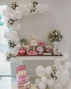 Balloon arch for a dessert bar or station at a baby shower, bridal shower, birthday party, or celebration Balloon Arch, Balloon Garland, Balloon Decorations, Birthday Decorations, Baby Shower Decorations, Balloons, Wedding Decorations, Baby Birthday, 1st Birthday Parties