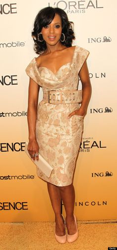 Kerry Washington's Style Evolution - wonderful neckline with a classic brocade is clearly a winner