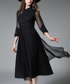 Love this Black Sheer-Overlay Button-Front Dress on #zulily! #zulilyfinds