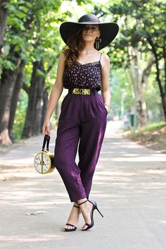 Discover this look wearing Gold Round Choies Bags, Black Zara Shoes, Deep Purple Polka Dots Thrifted Pants - Clocks by Chaba styled for Chic, Everyday in the Summer Mode Inspiration, Fashion Inspiration, Zara Shoes, Pants Outfit, Spring Outfits, Fashion Online, Fashion Shoes, Personal Style, Dress Up