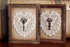 old keys, doilies, old book pages framed...nice look