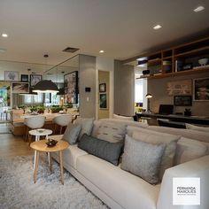 """""""Ambientes integrados : sala de estar , jantar e home-office - pegada atual ✔️✔️✔️ integrated spaces : livingroom, dinningroom and home-office - very cool…"""""""