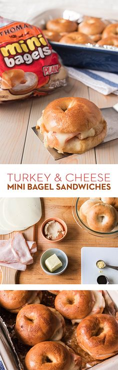 Turkey & Cheese Mini Bagel Sandwiches: These are as cute as they are delicious! With layers of roast turkey and Provolone cheese baked to toasty, melty perfection on Thomas' Mini Bagels, you won't be able to eat just one. Donut Party, Paninis, Donuts, Cheese Bagels, Bagel Sandwich, Keto, Provolone Cheese, Love Food, The Best