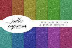 Glitter Digital Paper 12 Pack  Bright Kitsch by JoellesEmporium, £3.50