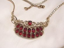 Gorgeous Art Deco Ruby Red and Clear Rhinestone Coro Necklace. Signed Coro in script no angle Circa 1919