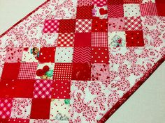 Valentine Table Runner, Quilted Table Runner, Table Topper, Cottage Chic, Red White Pink, Valentines Day by ForgetMeNotQuilteds on Etsy
