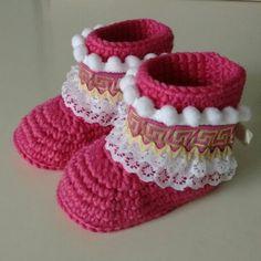 Botas étnicas de crochet. 100% lana merino. x