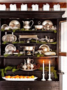 Gorgeous hutch ready for Christmas!!! Bebe'!!! Add a few festive touches throughout the house!!!